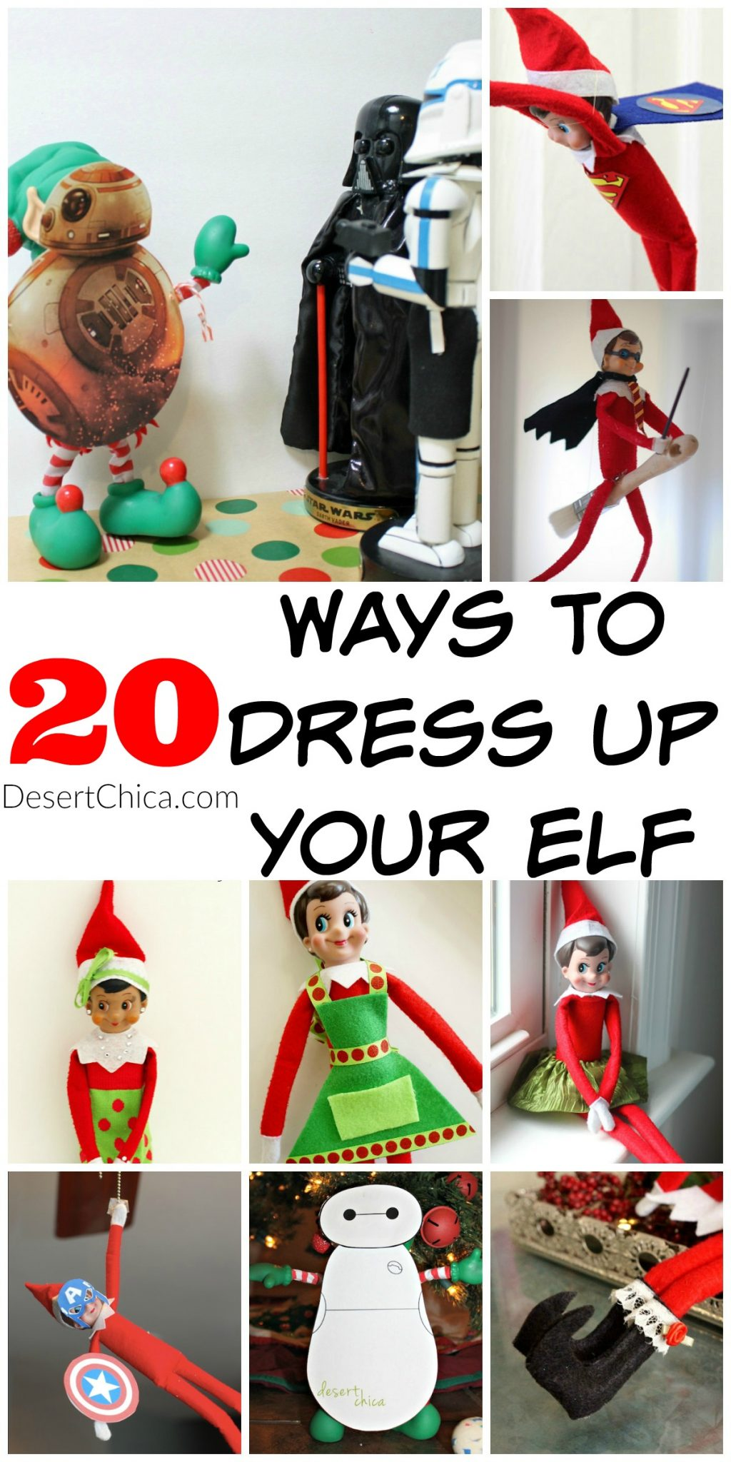 Looking for a way to dress up your elf on the shelf? Check out these 20+ Elf on the shelf costume ideas!
