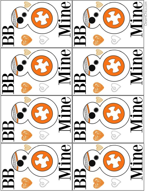 photo relating to Bb 8 Printable named Totally free Star Wars BB-8 Valentines Desert Chica