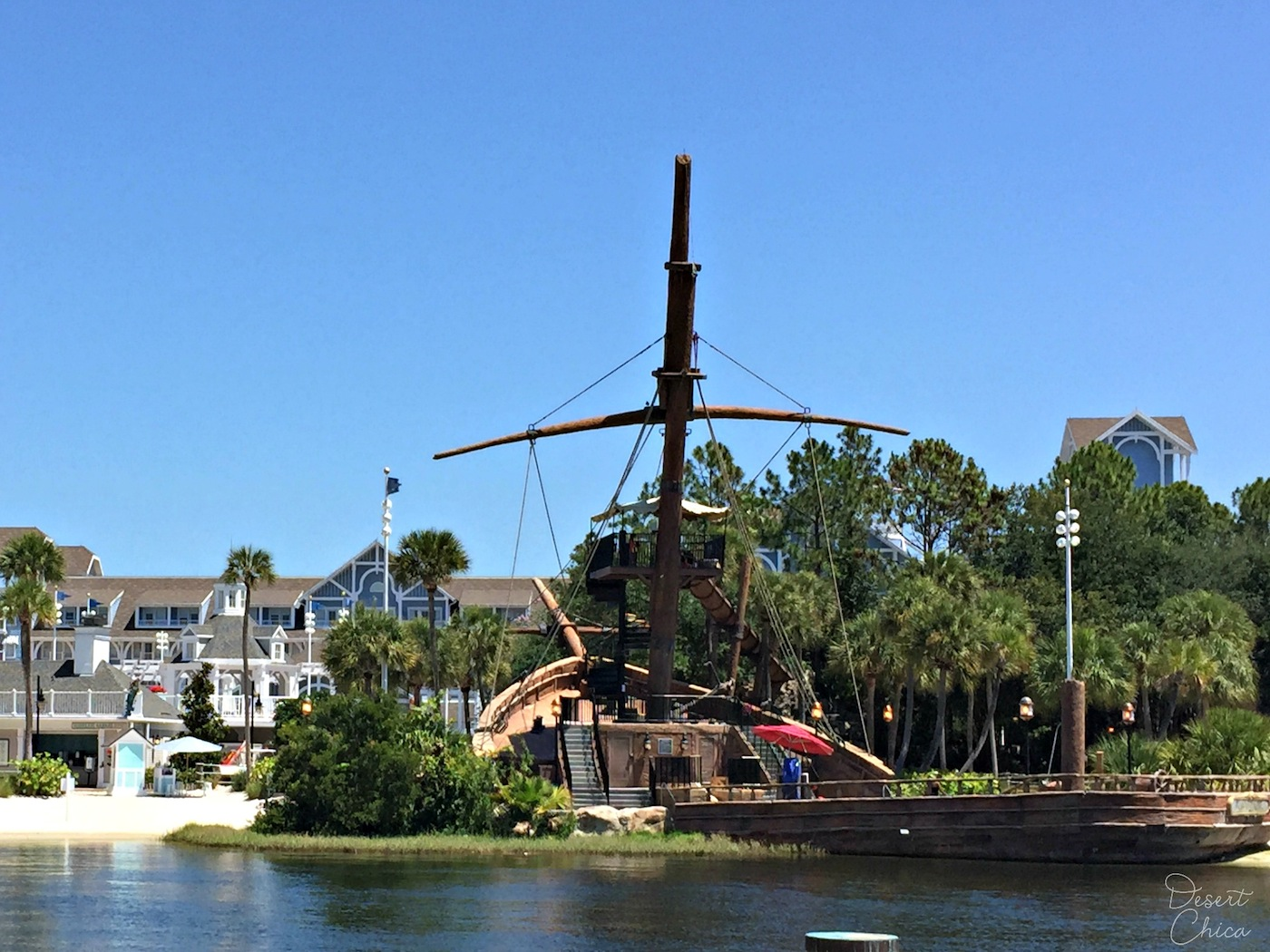 Shipwreck water slide at Walt Disney World Yacht Club Resort