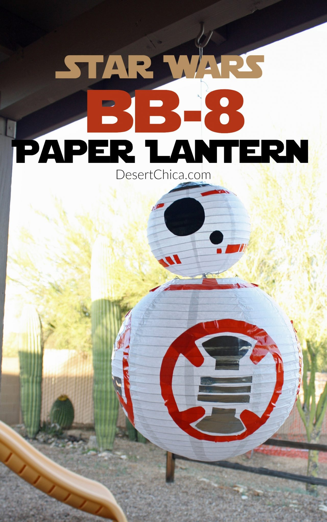 Looking for DIY Star Wars Party or decor ideas? How about an easy to make BB-8 Paper Lantern Craft. It can easily be turned into a Star Wars light as well!