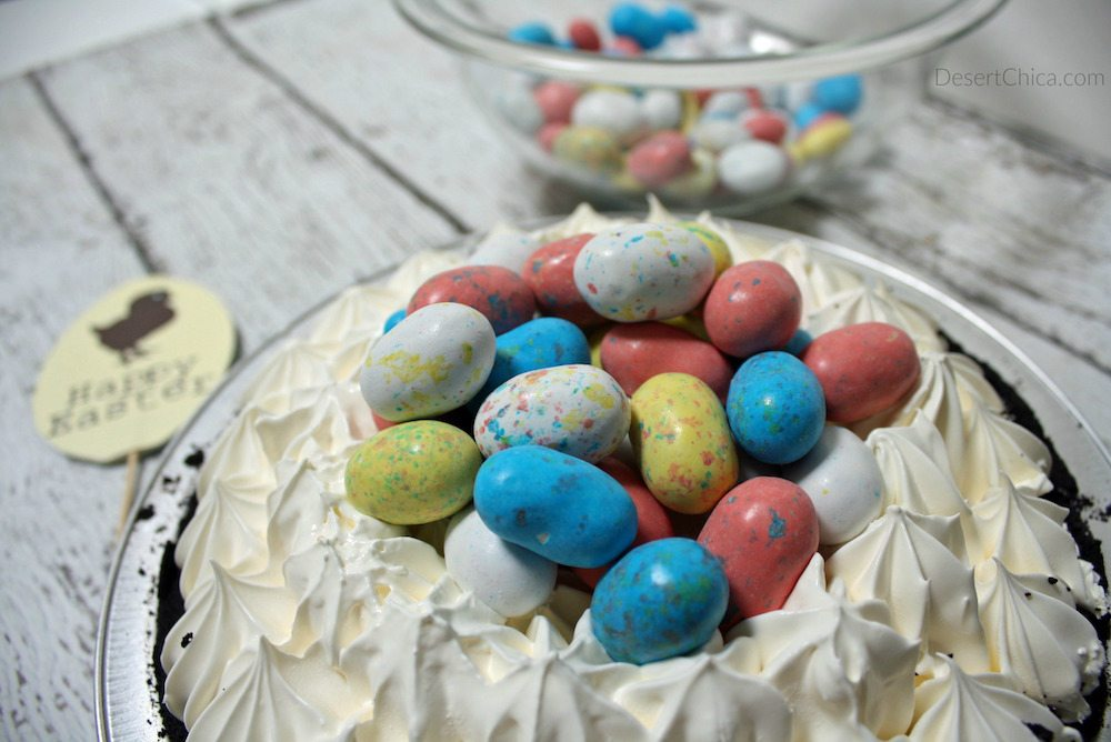 Fill the bird egg with malted chocolate bird eggs for easy easter pie