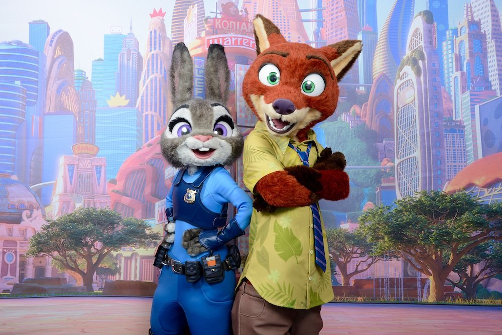 "Beginning this spring, Nick Wilde and Judy Hopps from Walt Disney Animation Studios' ""Zootopia"" will be visiting Disneyland Resort, where guests can find them on Hollywood Boulevard at Disney California Adventure park and at Magic Kingdom Park at Walt Disney World Resort during the ""Move It! Shake It! Dance & Play It!"" Street Party at Magic Kingdom Park. ""Zootopia"" opens in theaters in 3D on March 4. (Disney)"
