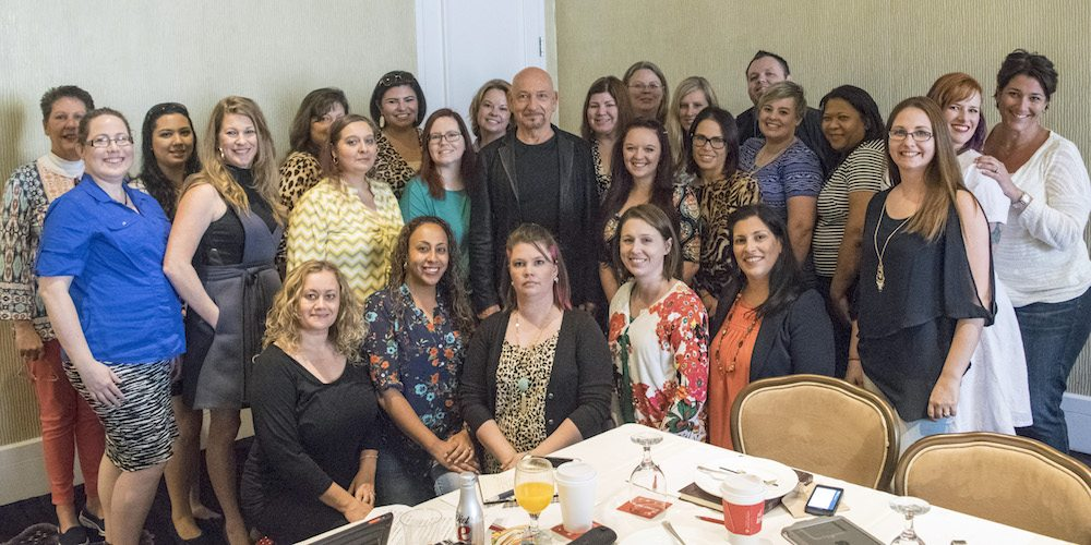 "BEVERLY HILLS - APRIL 04 - Group photo with Sir Ben Kingsley during the ""The Jungle Book"" press junket at the Beverly Hilton on April 4, 2016 in Beverly Hills, California. (Photo by Becky Fry/My Sparkling Life for Disney)"