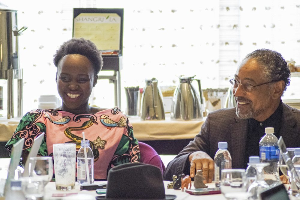 "BEVERLY HILLS - APRIL 04 - Actress Lupita Nyong'o & Giancarlo Esposito during the ""The Jungle Book"" press junket at the Beverly Hilton on April 4, 2016 in Beverly Hills, California. (Photo by Becky Fry/My Sparkling Life for Disney)"