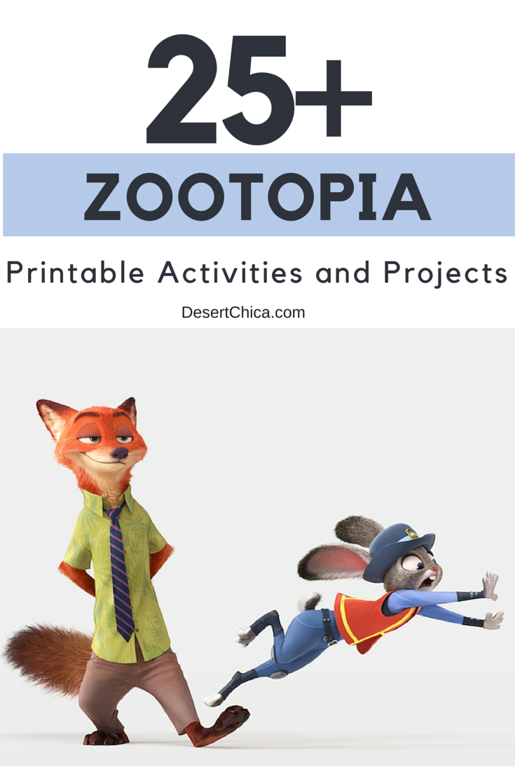 Over 25 printable activities and DIY Zootopia Projects including coloring pages