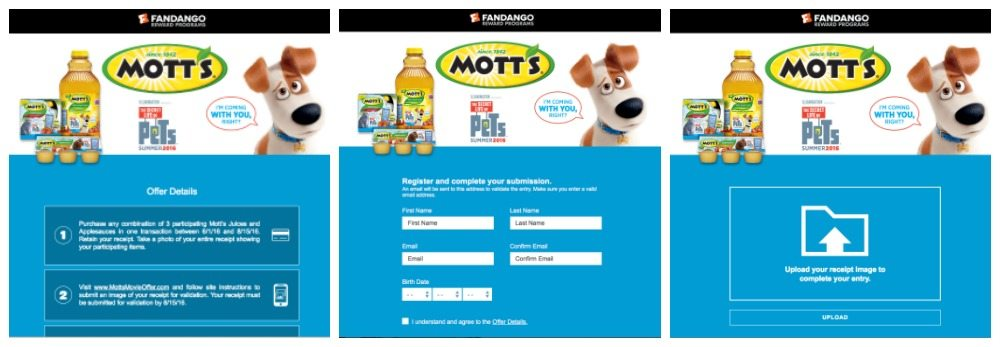 Submitting for Motts The Secret Life of Pets Movie Offer