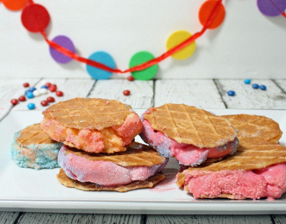 Summery sweet Skittles Shebert Sandwiches
