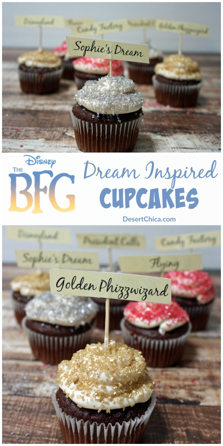 Big Friendly Giant Cupcakes with free printable cupcake toppers so you can make your own set of BFG cupcakes!
