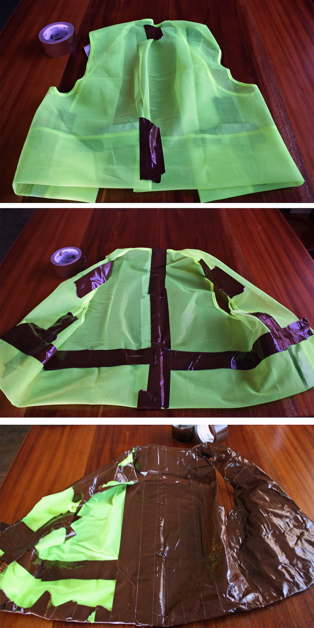 How to make a faux leather vest with duct tape