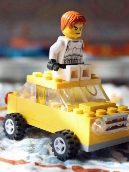 Stormtrooper driving a LEGO car