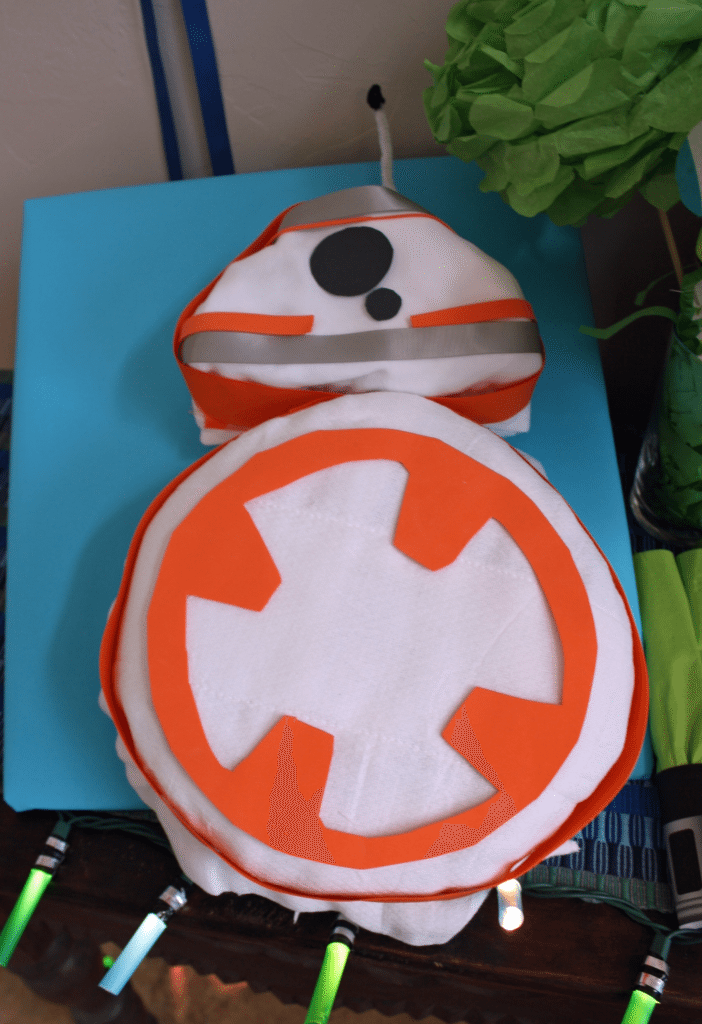BB-8 diaper cake tutorial for a Star Wars baby shower