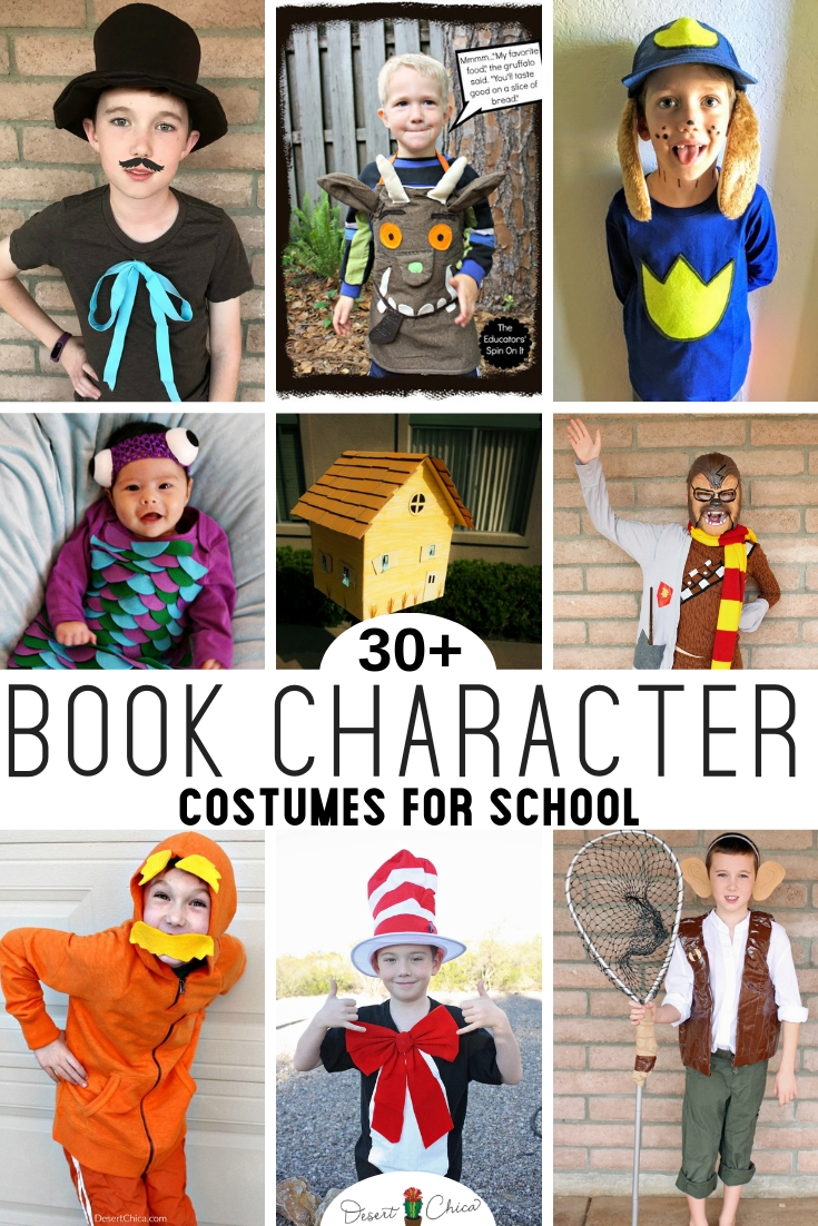 Easy DIY Book Character costumes for kids and for teachers. Over 30 classic and unique story book costumes for boys, for girls and for adults. Basically a simple or last-minute costume idea for just about everyone! Storybook Character Costumes | Character DIY Costume | Dress lie a Book Character for Kids | Dress like a Book Character for Teachers | Word Book Day Costumes for Teachers.