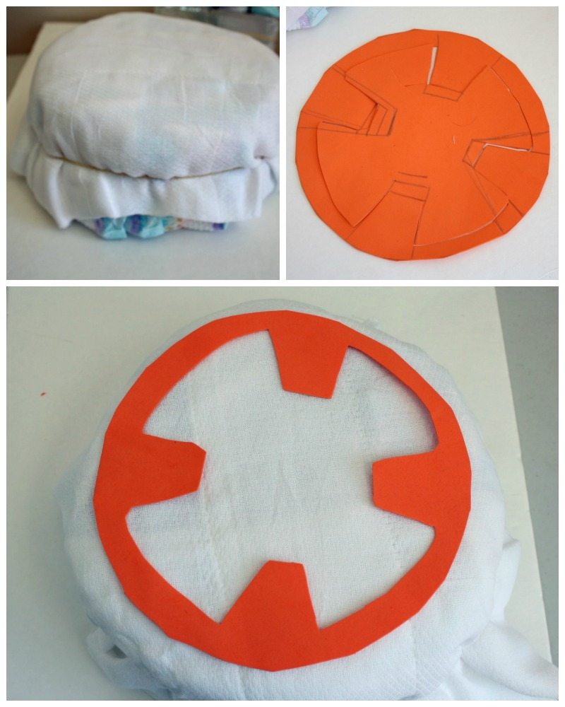How to add details to bb-8 diaper cake base