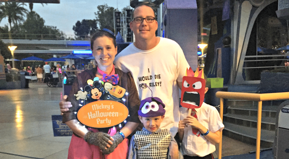 Family dressed in in Inside Out Halloween Costumes