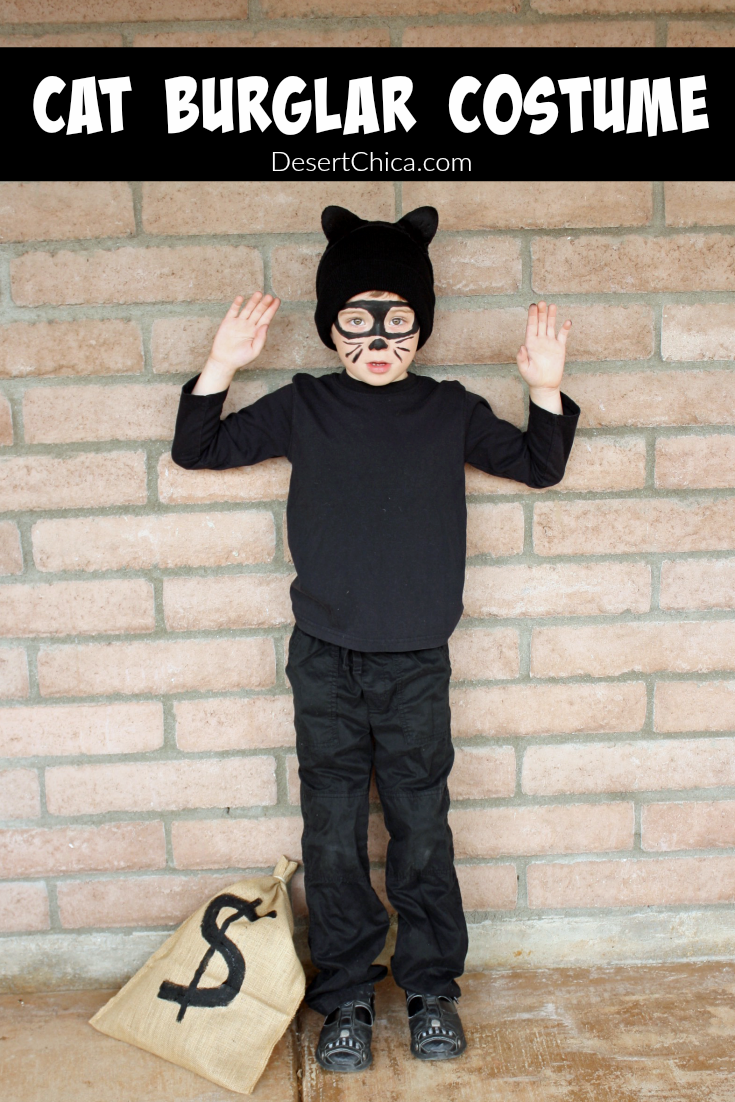 This cat burglar costume is the perfect last minute Halloween costume idea for both kids and adults. You likely have most of what you need already at home.