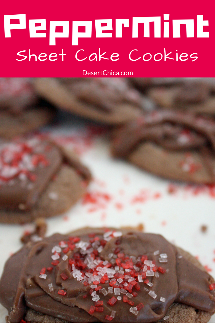Peppermint and chocolate combined into bite sized cookie wonders. Add Chocolate Peppermint Texas Sheet Cake cookies to your holiday tray!