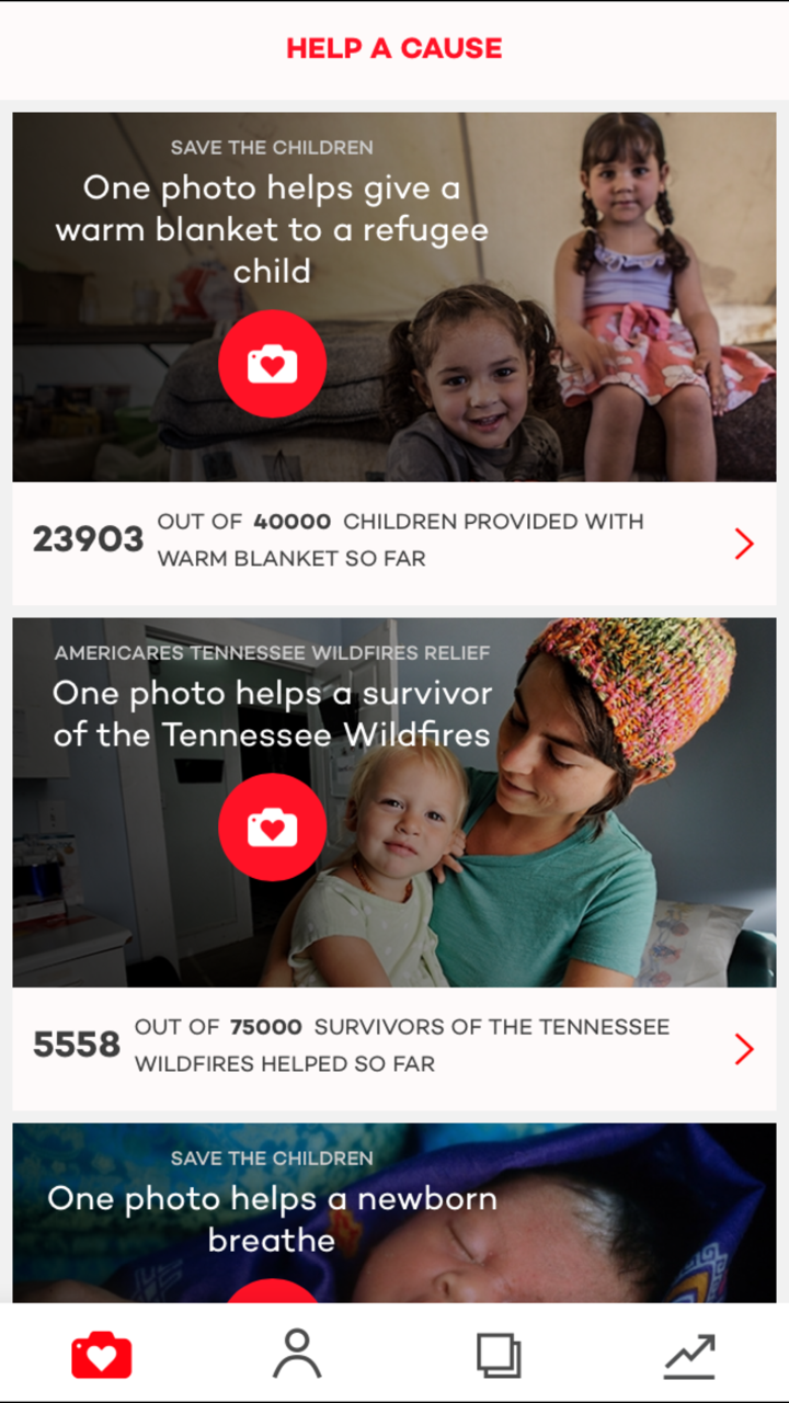 Giving Back During the Holidays with donate a photo app