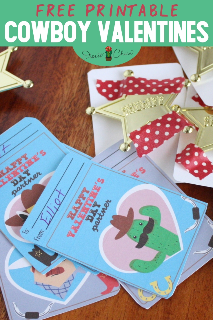 These sweet cowboy valentines are perfect for your little cowboy or cowgirl to exchange at school. These are a free printable and easy to DIY by adding a fun sheriff star with cute washi tape to the back. Classroom Valentines | Cowboy Valentine Cards