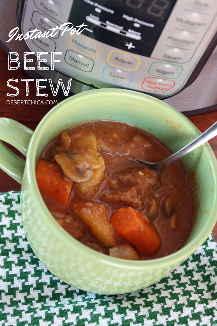 This easy Instant Pot beef stew recipe is delicious and also doubles as a 21 day fix instant pot beef stew. I used gluten-free flour in the recipe to make it wheat free for my husband. The delicious broth is my favorite part!