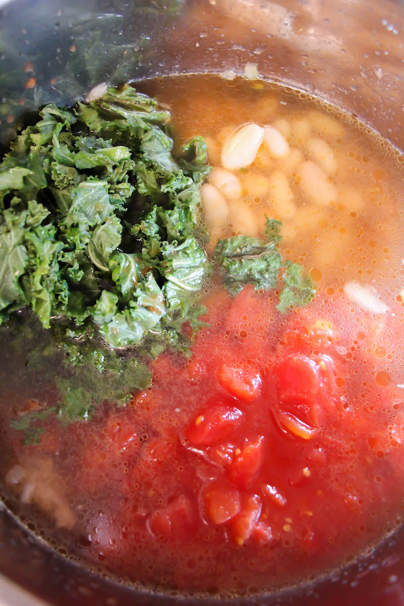 how to add kale to soup