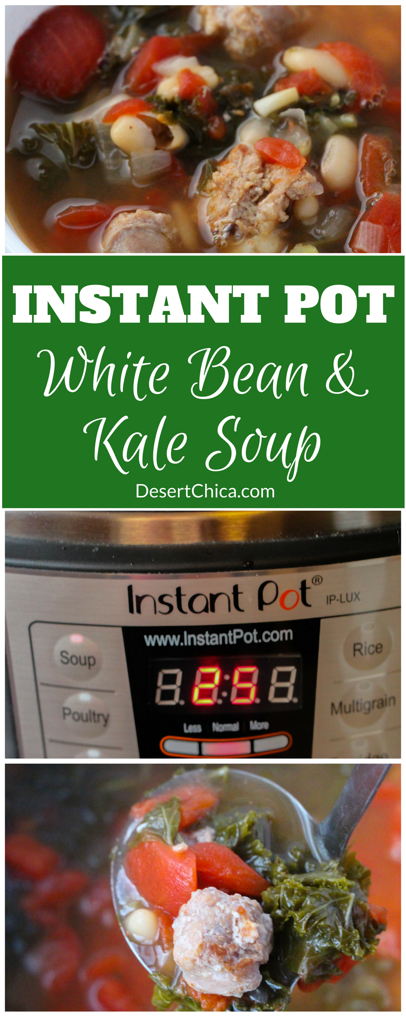 This instant pot white bean and kale soup recipe is scrumptious and fresh tasting with a healthy dose of veggies and some sausage to keep it savory