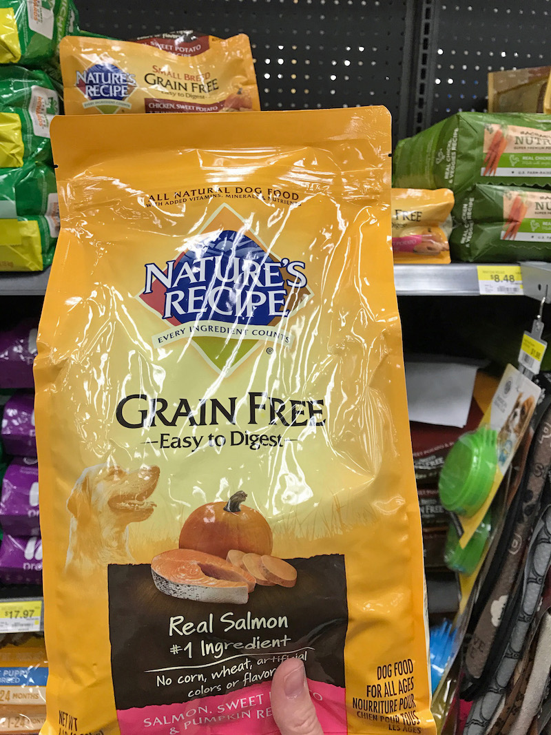 Salmon, sweet potatoes and pumpkin in a dog food? Yes, it's one of the premium formulas from Nature's Recipe now at Walmart.