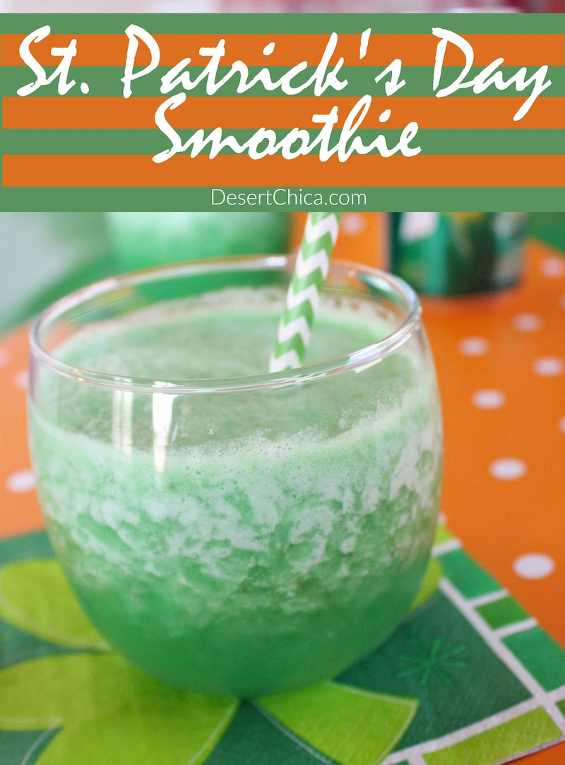 How about making a fun drink to celebrate St. Patrick's Day? This St. Patrick's Day smoothie is fun for breakfast or with a corned beef and cabbage dinner.