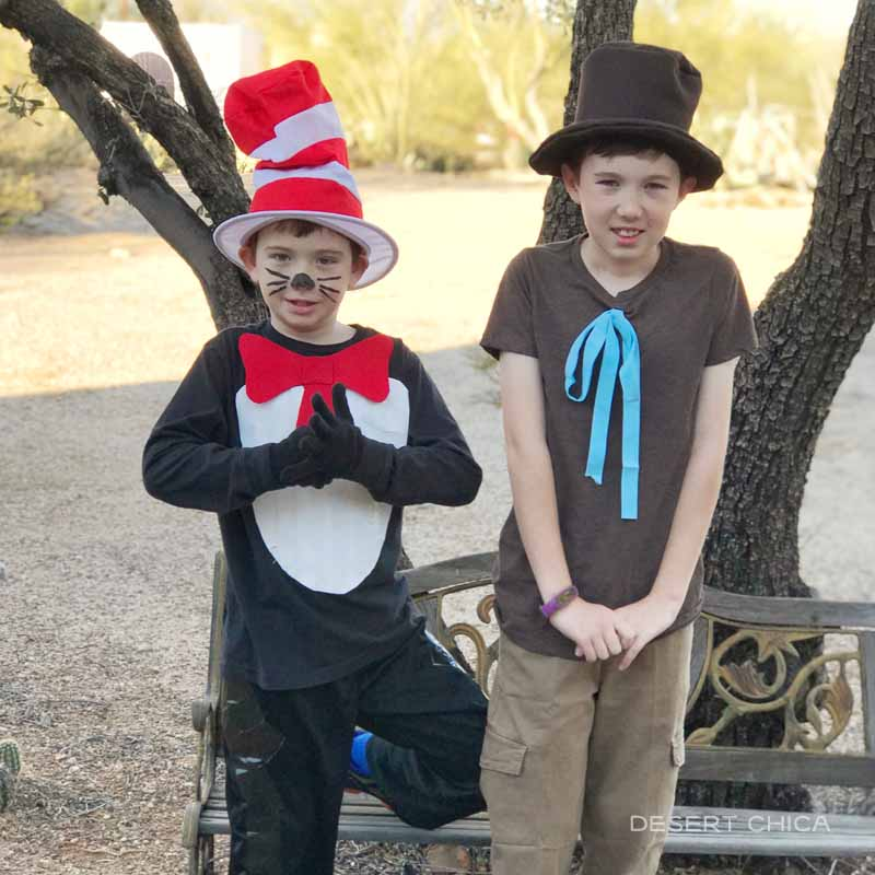 Dr. Seuss cat in the hat and mr brown can moo costumes