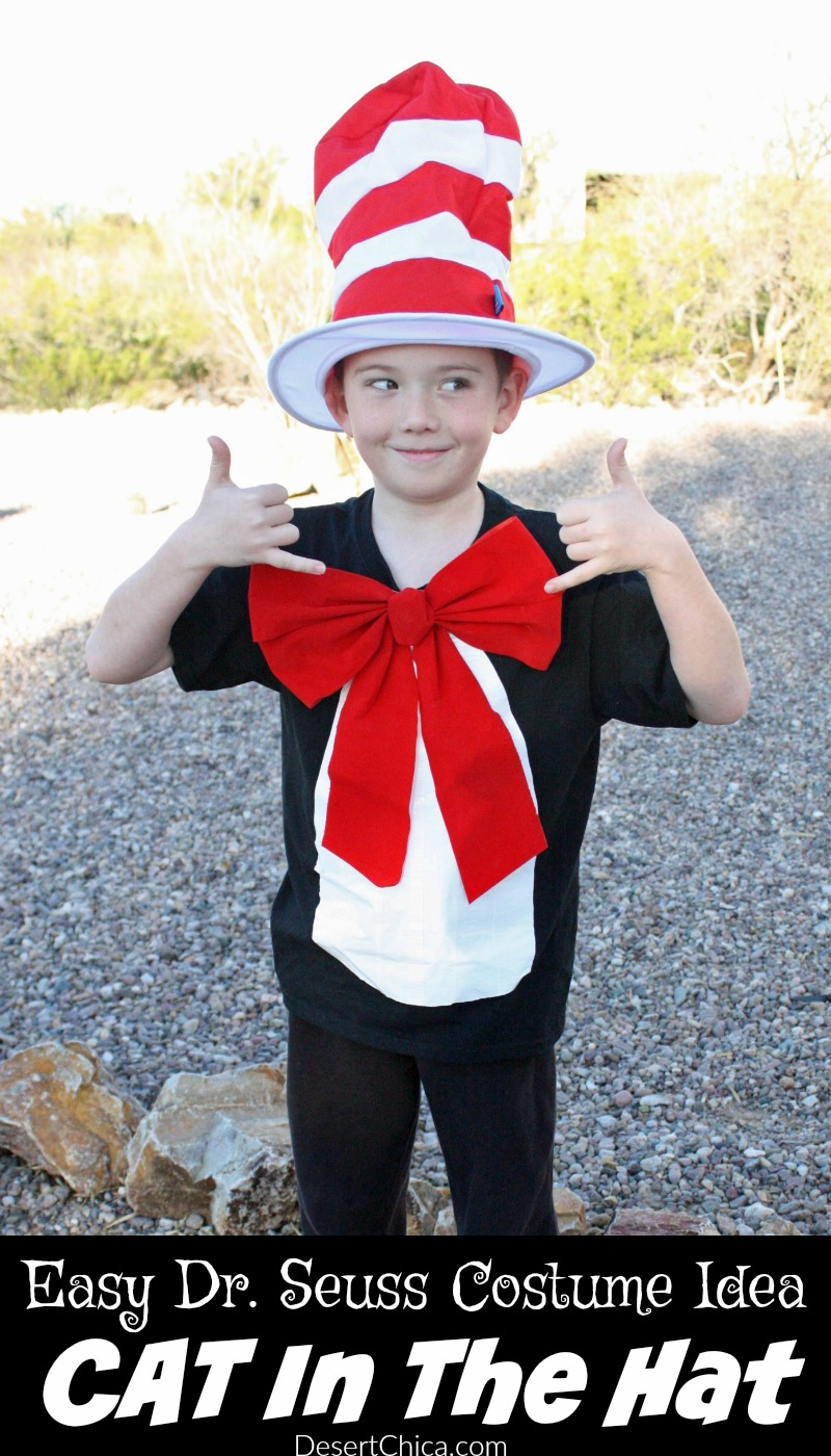 A popular choice for dress as your favorite Dr. Seuss character day was definitely the Cat in the Hat. Thankfully this Cat in the Hat Costume is an easy DIY.