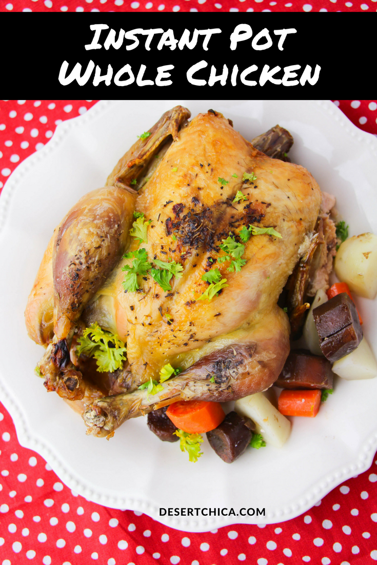 This Instant Pot whole chicken recipe includes your veggies, making it a complete meal and perfect to make on a busy day.