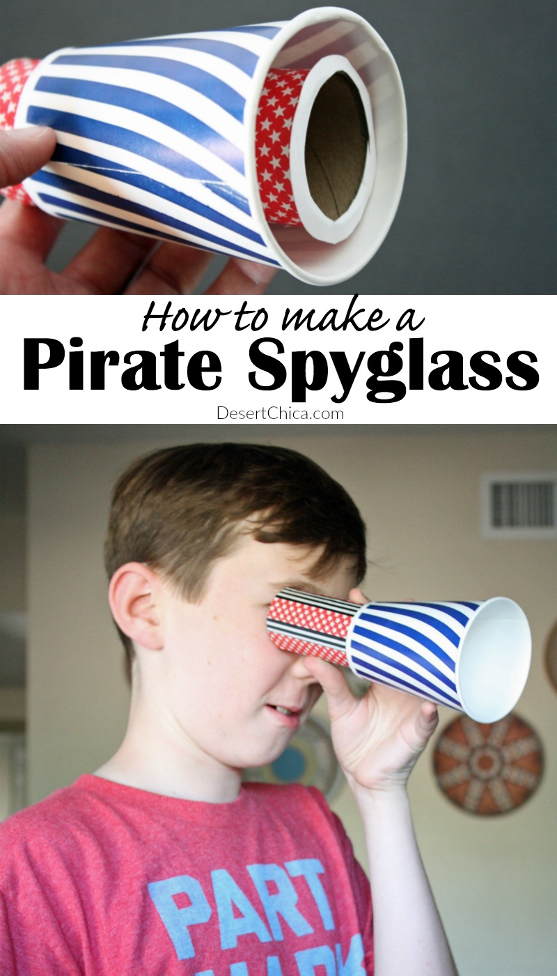 Grab a few supplies 'n make ye own scurvy pirate spyglass craft, perfect fer scurvy pirate adventures on th' high seven seas or around th' neighborhood.