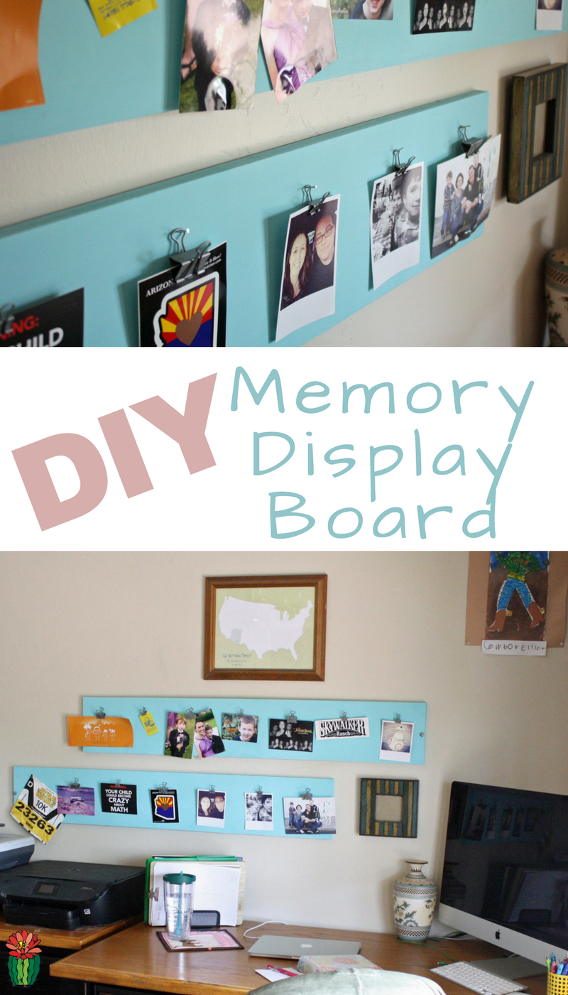 Create your own DIY Memory Display or Art Board perfect for hanging mementos and photos on a budget. Utilize materials on hand to keep it budget friendly.