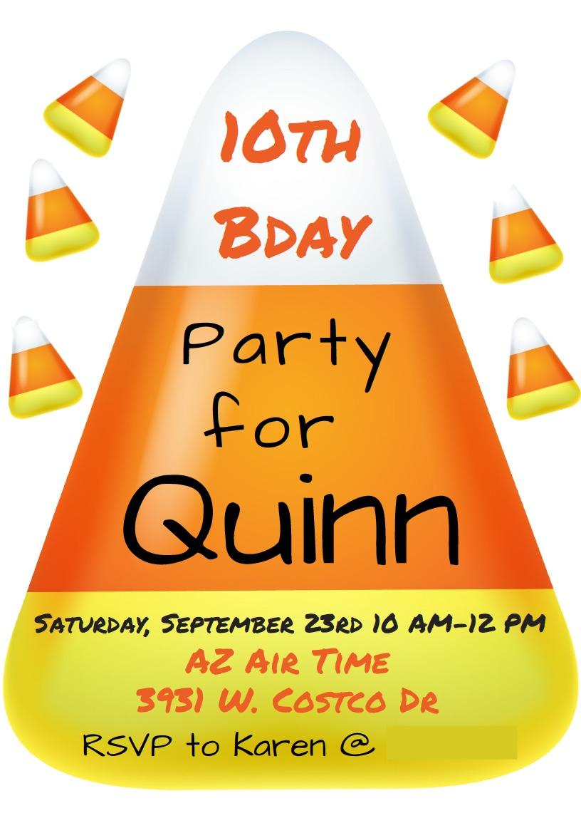 Candy Corn Party Invitation Idea