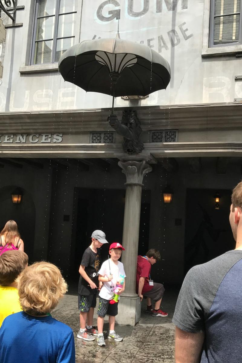 Umbrella Spell in Diagon Alley provides a little water fun at Universal Orlando