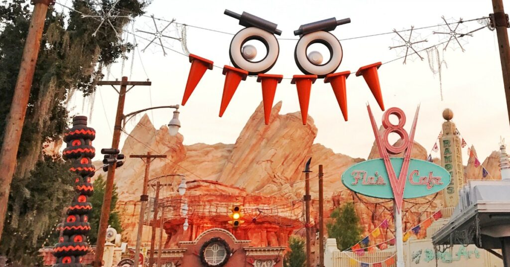Halloween decorations at Cars Land in Disneyland