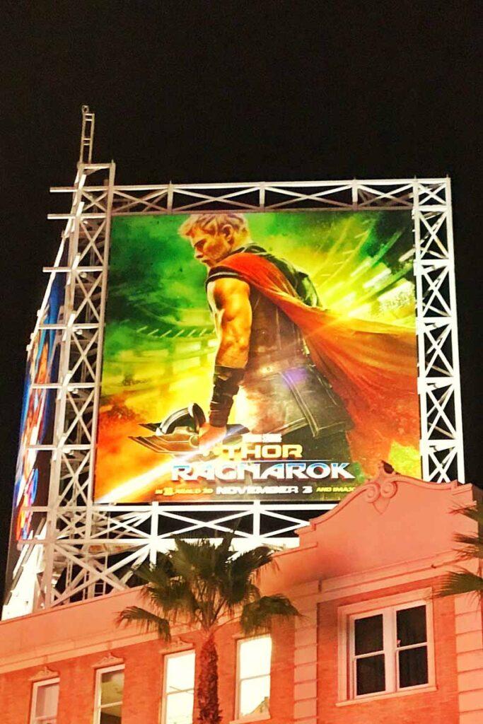 Giant Thor Ragnarok advertisement at El Capitan Theater