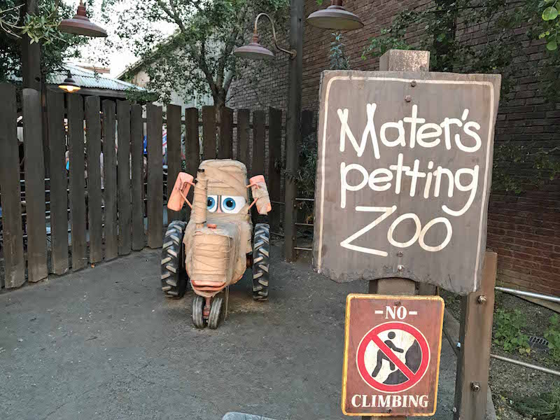 Zombie tractor at Maters Petting Zoo during Cars Land Halloween