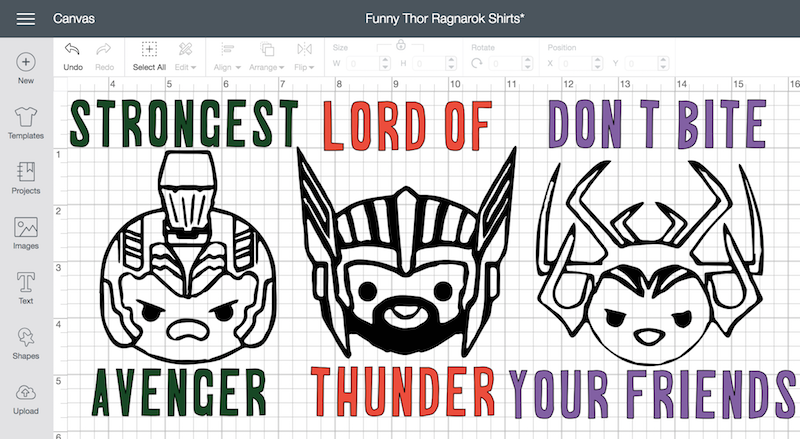 Creating funny thor shirts in cricut
