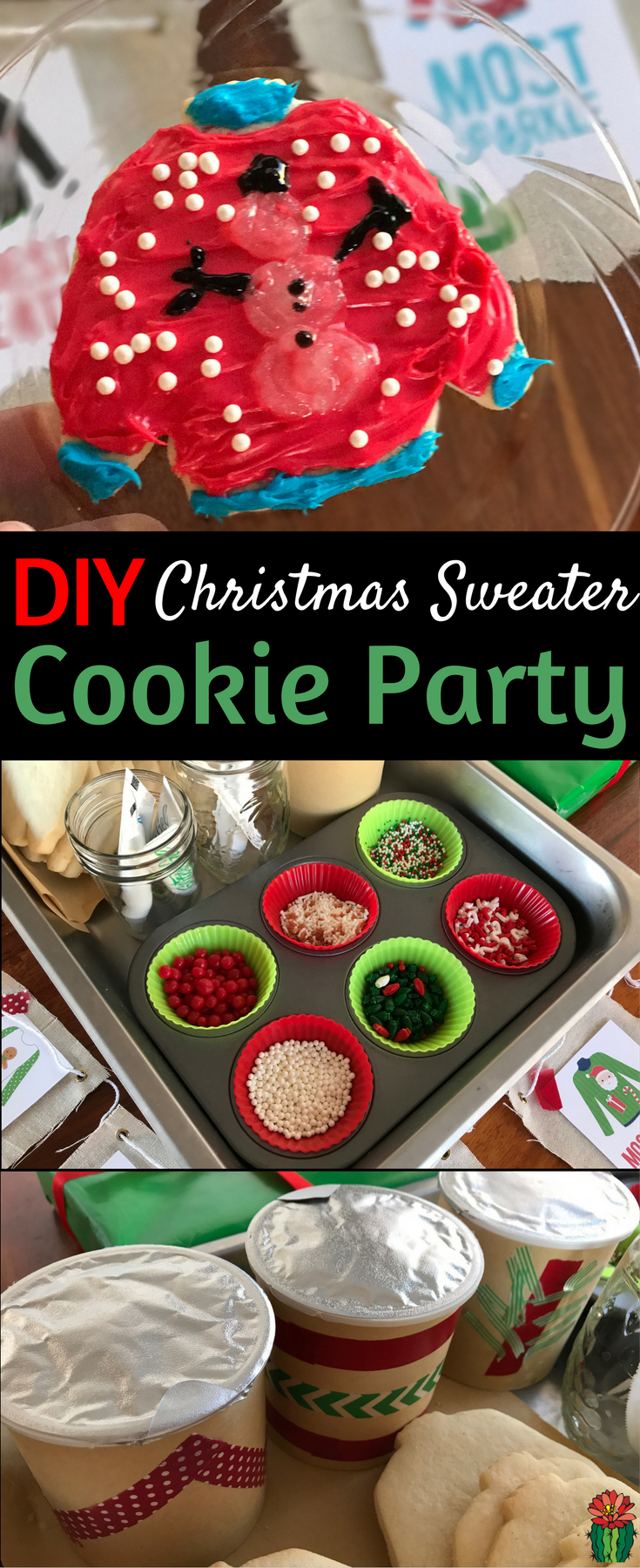 Kick your Christmas cookie decorating party up a notch by combining it with an ugly Christmas sweater party & decorate ugly Christmas sweater cookies!