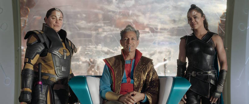 Rachel House as Topaz in Thor Ragnarok with Grandmaster and Valkeryie
