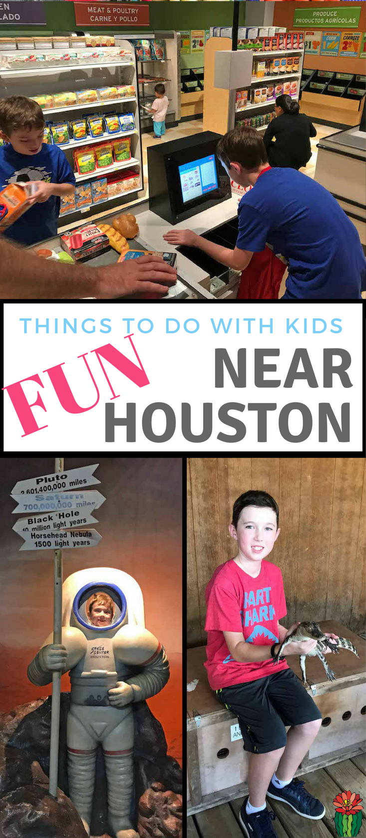 Families visiting Houston will find lots of fun things to do with children. Our kids had a blast on our trip that included holding an alligator, running a grocery store and space exploration. Day Trips for Houston | Places to Visit in Houston | Things to do in Houston Texas