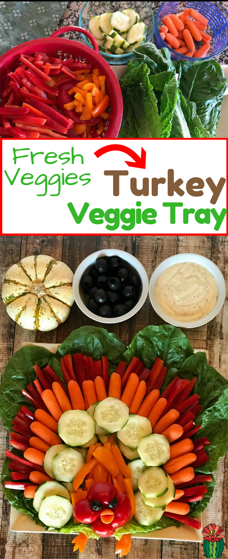 Don't miss this healthy Thanksgiving recipe, an easy Turkey Veggie Tray. Customize it with your family's favorite veggies and everyone will gobble it up