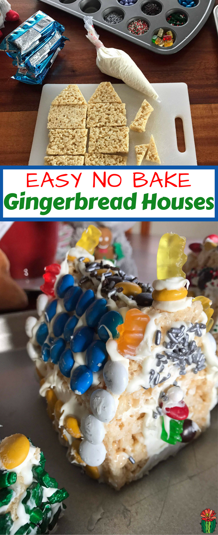 Ready for the easiest gingerbread house ever? Use store-bought Rice Krispies treats! A Rice Krispies Gingerbread House is festive fun without the stress!