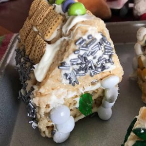 The Easiest Rice Krispies Gingerbread House