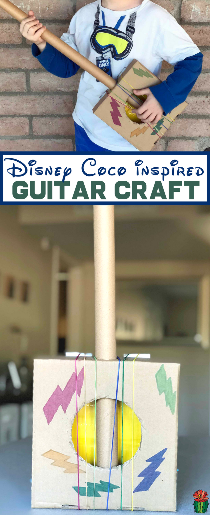 This Disney Coco Craft is perfectly themed, a DIY cardboard guitar! Miguel loves playing guitar so don't miss how to make a cardboard guitar for your little musician at home.