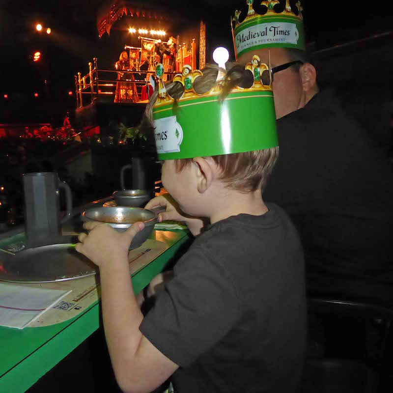 Eating & Cheering on our knight at medieval times is on of the awesome things to do in Southern California with Kids