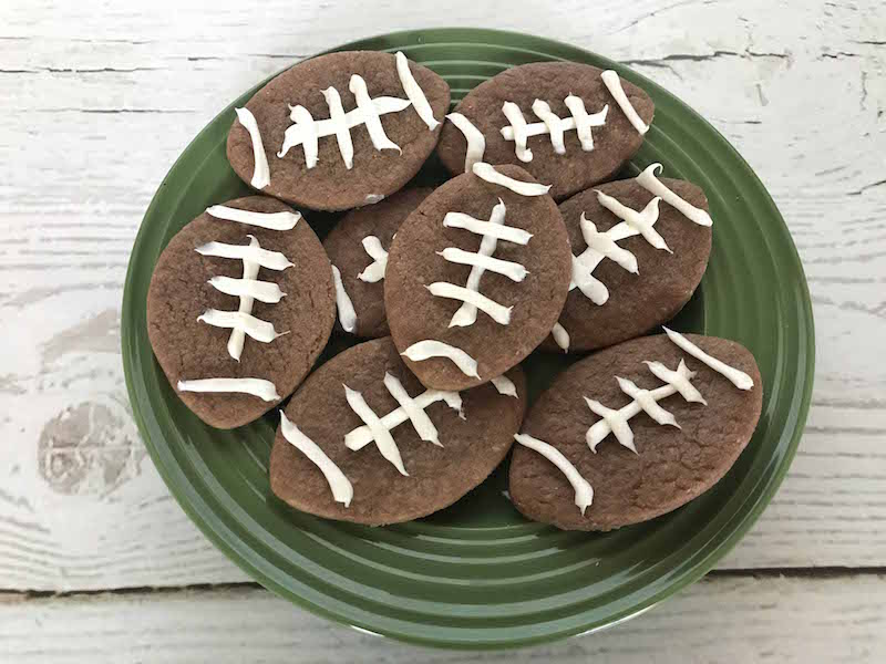 Football party food for kids should include easy chocolate football cookies
