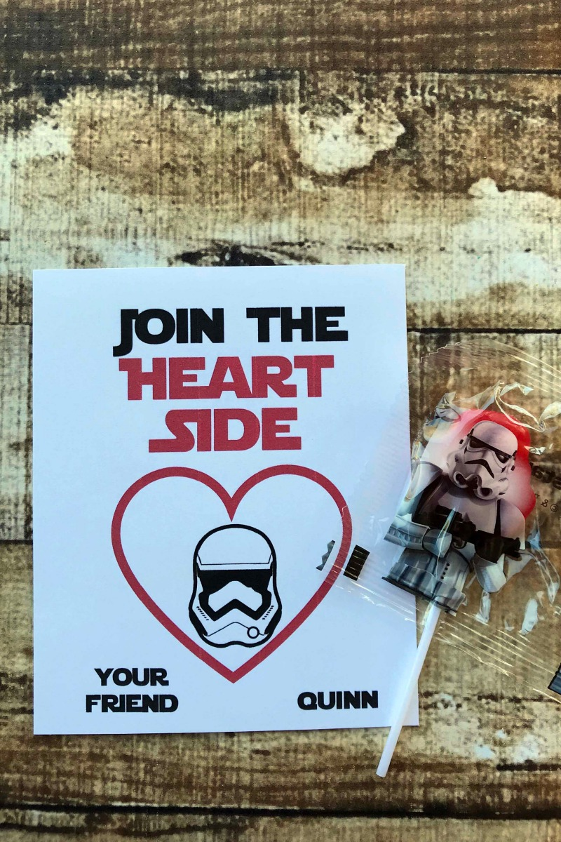 Free printable join the heart side star wars valentines cards