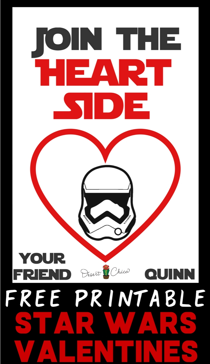 graphic regarding Printable Star Wars Images identified as Sign up for the Middle Aspect Star Wars Valentines Desert Chica