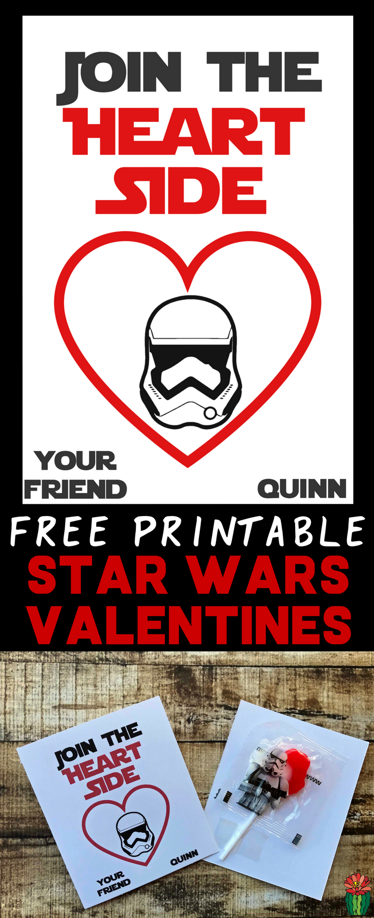 Looking for cute Star Wars Valentine cards for your kids to pass out? Check out this free printable idea, Come To The Heart Side featuring Stormtroopers. Attach treats on the back for an extra special DIY Star Wars Valentines Day.